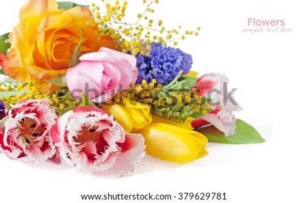 Tulips, roses and mimosa flowers bunch isolated on white background with sample text - stock photo