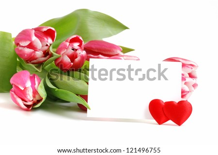 Tulips with card for your text - stock photo