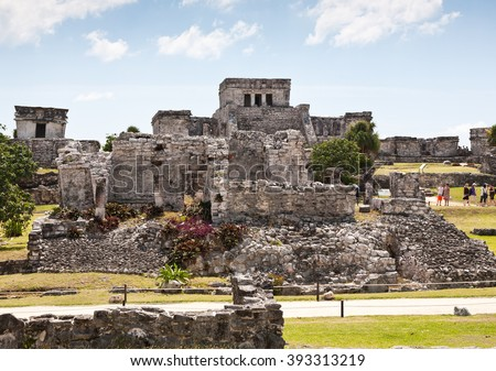 Tulum, ancient Mayan ruins in by the Caribbean Sea. Yucatan, Mexico. - stock photo