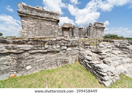 Tulum, ancient Mayan ruins in by the Caribbean Sea. Yucatan, Mexico.