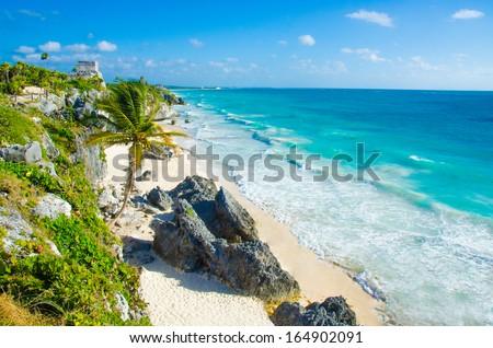 Tulum beach - stock photo