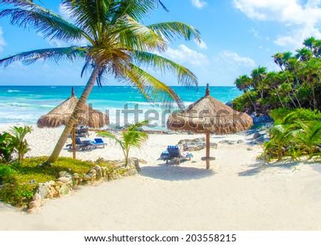 Tulum Beach at Penisula Yucatan in Mexico - stock photo