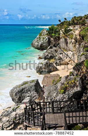 Tulum beach, Riviera Maya, Mexico - stock photo