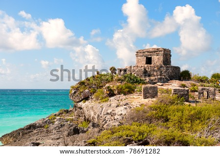 Tulum maya ruins by the sea, southern Mexico, - stock photo