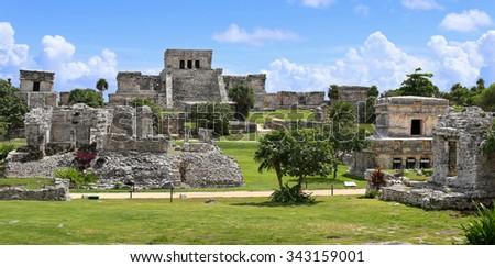 Tulum maya ruins, southern Mexico. - stock photo