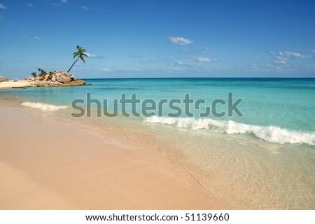 tulum mayan riviera tropical beach palm trees turquoise caribbean sea [Photo Illustration] - stock photo