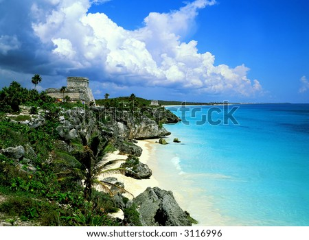 Tulum mayan ruins - stock photo