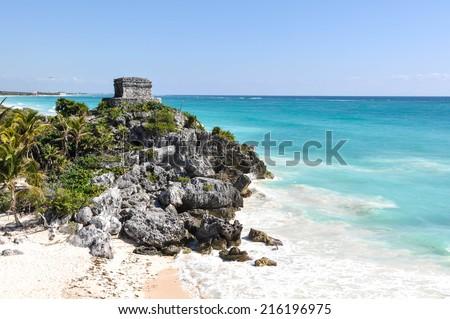 Tulum Mayan Ruins in Mexico - stock photo