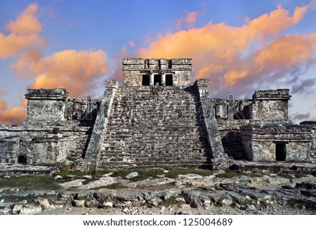 Tulum Mayan ruins off the Yucatan, Mexico - stock photo