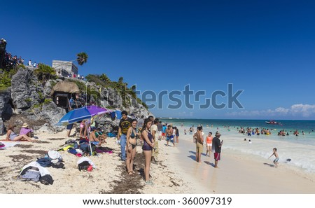 Tulum, Mexico - January 7 2016 - The beautiful beach of Tulum in Mexico. The city boasts a wide array of tourist activities due to its geographical location in the Riviera Maya.