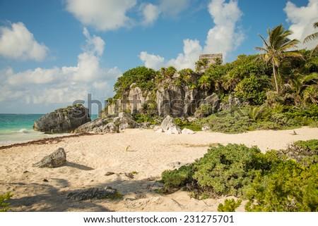 Tulum Ruins by the beautiful coast of the Yucatan Peninsula - stock photo