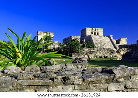 Tulum the one of most famous landmark in the Maya World near Cancun Mexico - stock photo