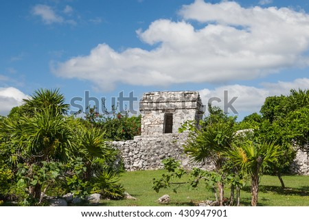 Tulum, Yucatec, a maya site of a Pre-Columbian Maya walled city serving as a major port for coba on the Caribbean Sea. - stock photo