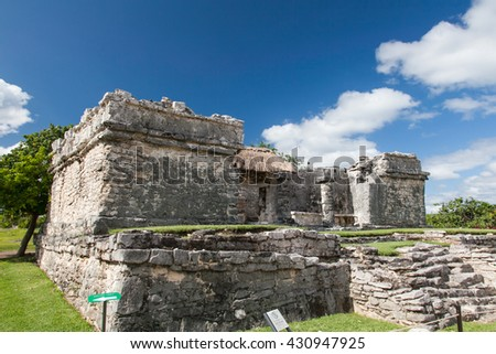 Tulum, Yucatec, a maya site of a Pre-Columbian Maya walled city serving as a major port for coba on the Caribbean Sea.