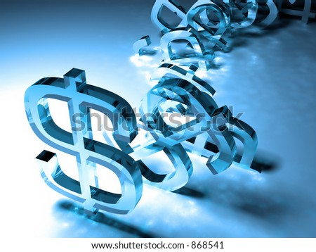 Tumbling dollar signs - money-building and success concept - stock photo