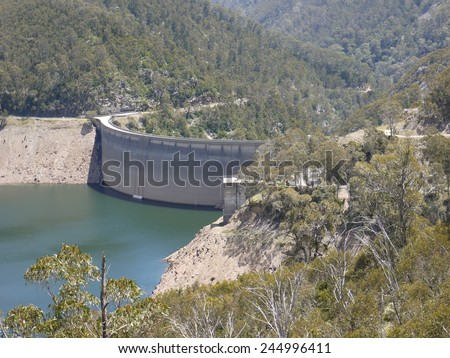 Tumut Pond Dam in the Snowy Mountains of New South Wales in Australia  - stock photo