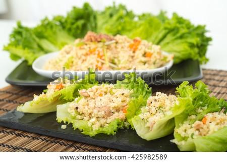 Tuna and Bulgar wheat lettuce wraps - stock photo