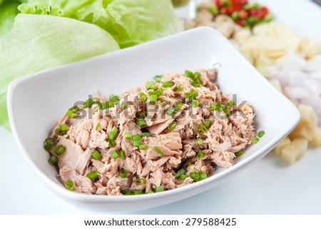 Tuna and fresh vegetable salad - stock photo