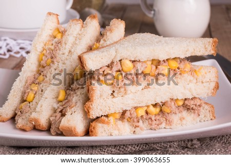 Tuna and Sweetcorn Sandwich with white bread. Healthy sandwich.   - stock photo
