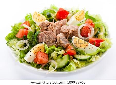 Tuna and vegetable salad - stock photo