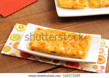 Tuna and vegetables pizza bites - stock photo