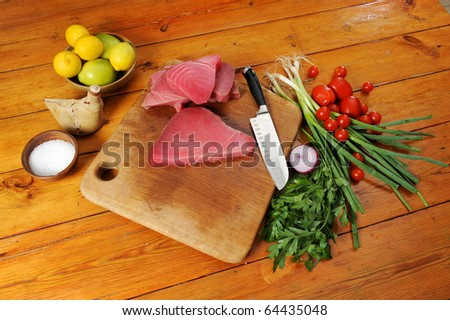 tuna and vegetables real slow food - stock photo