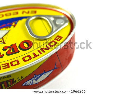 tuna can detail on a white background - stock photo