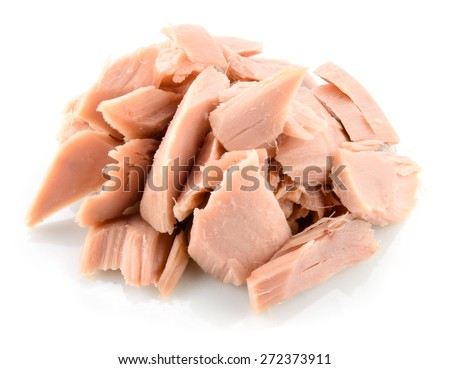 Tuna. Canned fish isolated on white - stock photo