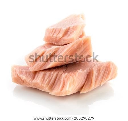 Tuna. Canned fish isolated on white. Macro. - stock photo