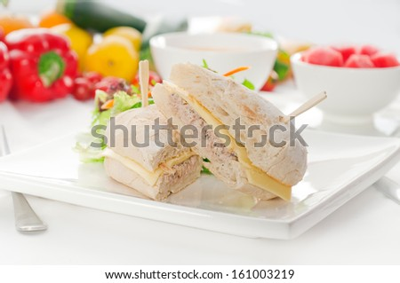 tuna fish and cheese sandwich with fresh mixed salad ,watermelon and gazpacho soup on side,with fresh vegetables on background