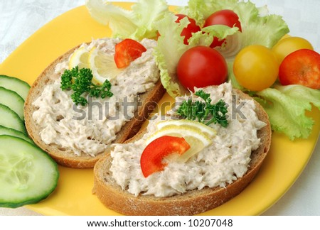 Tuna fish spread snack - stock photo