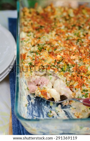 Tuna, Leek, Mornay and Orange Pasta Bake with Bread Crumb and Cheese Topping (Macaroni and Cheese) - stock photo