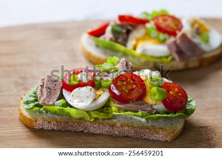 Tuna nicoise sandwich - stock photo