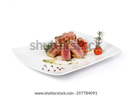 Tuna on white background - stock photo