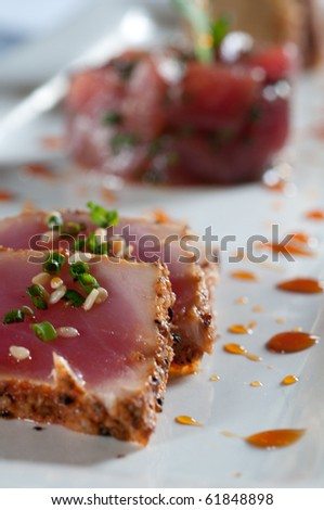 Tuna prepared three differt ways - stock photo