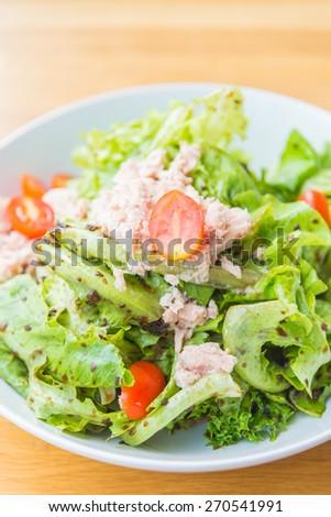 Tuna salad dish healthy food - soft focus point - stock photo