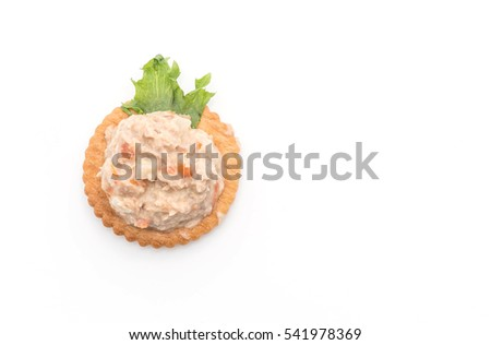 tuna salad with cracker on white background