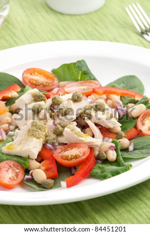 Tuna salad with fresh spinach, cherry tomatoes, white beans and pesto dressing.