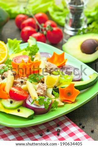 tuna salad with pasta and vegetables - stock photo