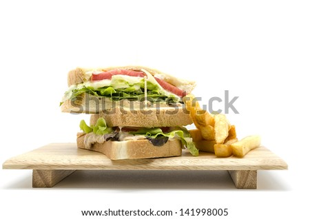 Tuna sandwich and  french fries, isolated on white background