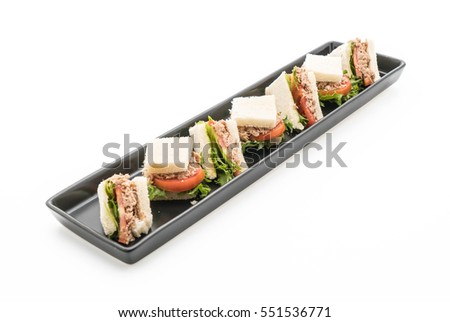 tuna sandwich on white background