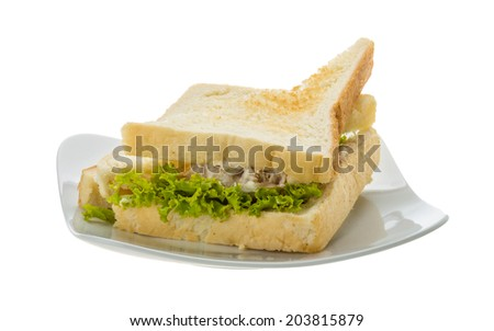 Tuna sandwich with salad and tomato