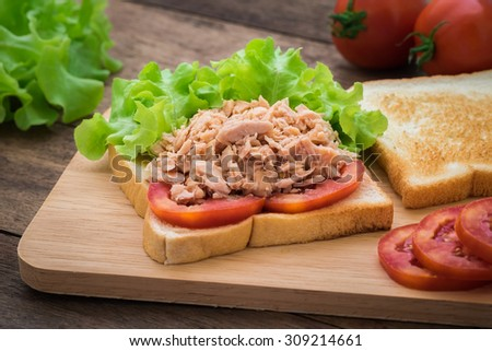 Tuna sandwich with vegetables on wooden plate - stock photo