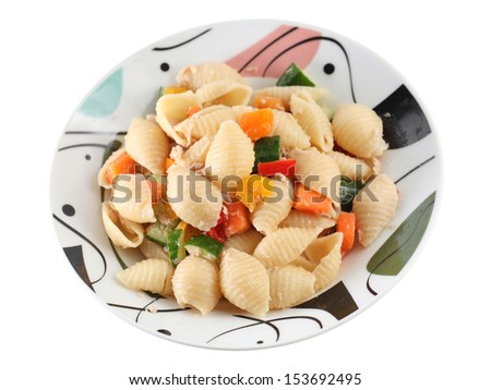 Tuna shell pasta in plate over white background. - stock photo