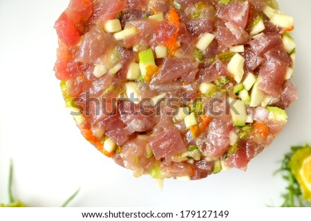 tuna tartare with celery and zucchini flowers