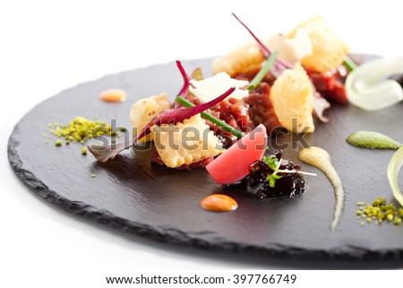 Tuna Tartare with Various Dip and Crispy - stock photo