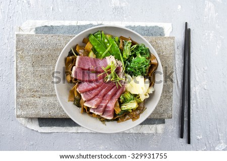 Tuna Tataki with Rice Noodles and Vegetable - stock photo