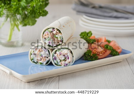 Tuna wraps with cucumber onion and mayonnaise with tomato salad - stock photo