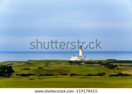 Tunberry lighthouse in Scotland, UK - stock photo