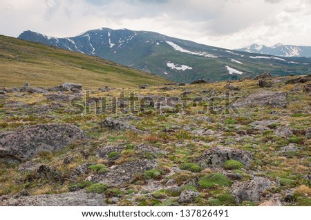 Tundra and mountains of Mt. Evans Wilderness Area in Colorado. - stock photo